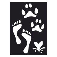 Selvklæbende Tattoo stencil. Foot Steps