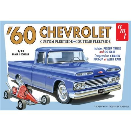 AMT 1960 Chevy Custom Fleetside Pickup w/Go Kart 1:25