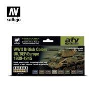 71.614 WWII British Colors UK/BEF/Europe 1939-1945 sæt 8 x 17ml