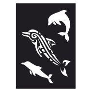 Selvklæbende Tattoo stencil. Dolphin